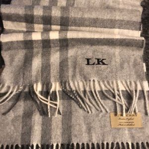 """Burberry Scarf (grey and white) """"LK"""" Embroidery"""